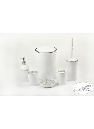 Akayev İmera 6 Parça Akrilik Beyaz Gümüş Banyo Seti Beyaz